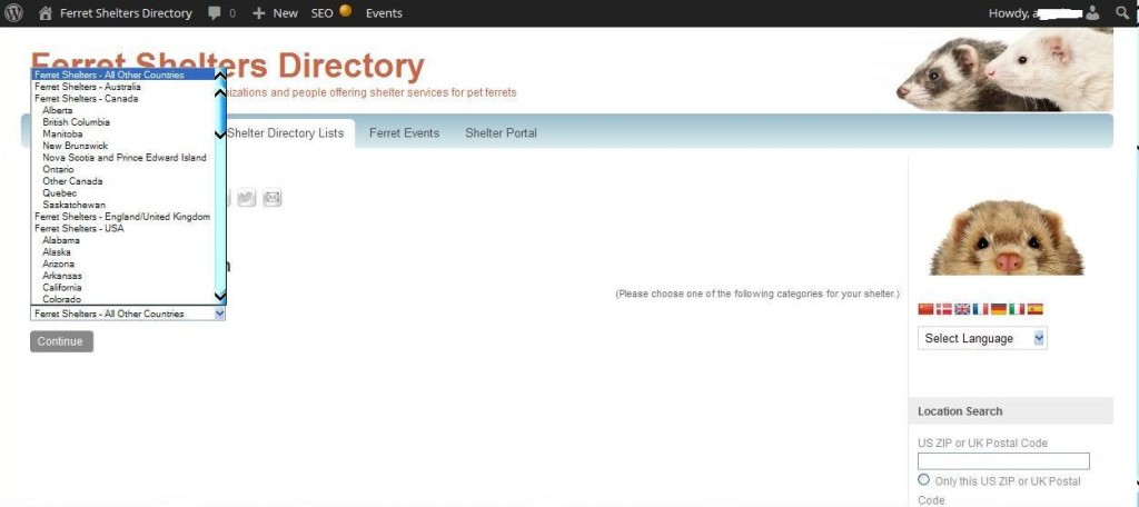 Select Location Screen - Ferret Shelters Directory