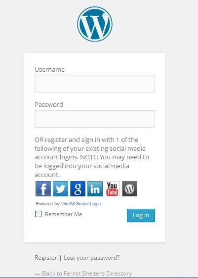 Log In Screen - Ferret Shetlers Directory